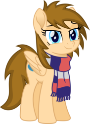 Size: 1104x1514 | Tagged: 2018 community collab, artist:peahead, blue eyes, clothes, derpibooru community collaboration, eyebrows, female, lidded eyes, looking at you, mare, movie accurate, oc, oc only, oc:stellar winds, pegasus, pony, safe, scarf, simple background, smiling, solo, transparent background, vector