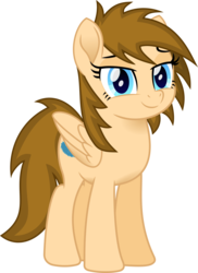 Size: 1104x1514 | Tagged: artist:peahead, blue eyes, clothes, eyebrows, female, lidded eyes, looking at you, mare, movie accurate, my little pony: the movie, oc, oc only, oc:stellar winds, pegasus, pony, safe, simple background, smiling, solo, transparent background, vector