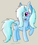 Size: 2880x3392 | Tagged: safe, artist:nacle, trixie, pony, unicorn, female, fluffy, horn, mare, one eye closed, solo, wink