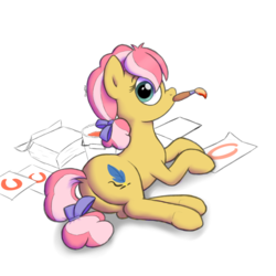 Size: 1024x1024 | Tagged: safe, artist:nugakku, kettle corn, earth pony, pony, marks and recreation, bow, bucket, circle, circle painting, color, cute, cutie mark, drawing, female, filly, foal, lying, mouth hold, paintbrush, painting, plot, prone, simple background, solo, that pony sure does love circles, white background