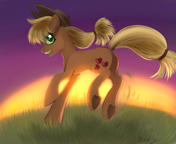 Size: 2847x2340 | Tagged: applejack, artist:genericartistperson, artist:lamentedmusings, earth pony, female, grin, hill, looking at you, mare, pony, profile, running, safe, signature, smiling, solo, sunset, underhoof
