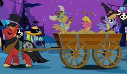 Size: 10040x5872 | Tagged: safe, artist:discorded, big macintosh, cherry berry, cloud kicker, sunshower raindrops, earth pony, pony, luna eclipsed, absurd resolution, big macintosh gets all the mares, cart, female, hat, helmet, horned helmet, mac the ripper, male, mare, nightmare night, shipping, stallion, straight, top hat, viking helmet, witch hat
