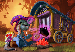 Size: 1309x900 | Tagged: safe, artist:harwick, fizzlepop berrytwist, tempest shadow, trixie, pony, unicorn, my little pony: the movie, autumn, aweeg*, bowl, box, breakfast, cereal, clothes, coffee, coffee mug, coffee pot, crystal, cup, dawn, eating, female, food, hat, lidded eyes, log, magic, mare, milk, morning ponies, mug, outdoors, pouring, product placement, sitting, solo, spoon, telekinesis, trixie day, trixie's hat, trixie's wagon, underhoof
