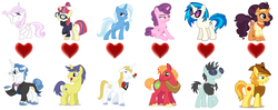 Size: 1708x677 | Tagged: big macintosh, bluetrix, braeburn, braesala, cometdancer, comet tail, dj pon-3, editor:jdueler11, fancyfleur, fancypants, female, fleur-de-lis, male, moondancer, neon lights, prince blueblood, rising star, safe, saffron masala, shipping, straight, sugar belle, sugarmac, trixie, vinylights, vinyl scratch