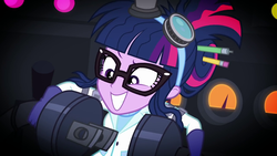 Size: 1280x720 | Tagged: clothes, eqg summertime shorts, equestria girls, female, glasses, goggles, laboratory, mad twience, messy hair, plug, safe, sci-twi, screencap, solo, twilight sparkle