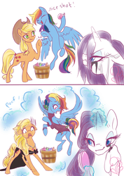 Size: 1253x1770 | Tagged: safe, artist:candasaurus, applejack, rainbow dash, rarity, earth pony, pegasus, pony, unicorn, alternate hairstyle, and then there's rarity, applejack also dresses in style, clothes, comic, dress, female, forced makeover, magic, makeover, mare, rainbow dash always dresses in style, revenge, tail wrap, water balloon, wet