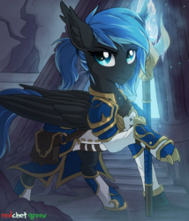 Size: 1400x1634 | Tagged: safe, artist:redchetgreen, oc, oc only, oc:midnight light, pegasus, pony, armor, claws, commission, female, mare, serious, serious face, solo, weapon, ych result