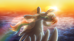 Size: 1920x1080 | Tagged: safe, artist:shad0w-galaxy, rainbow dash, pegasus, pony, big ears, chest fluff, cloud, female, fluffy, flying, lens flare, mare, multicolored hair, smiling, solo, sun, upside down, wallpaper