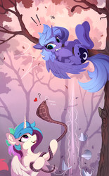 Size: 1546x2500 | Tagged: safe, artist:yakovlev-vad, princess celestia, princess luna, alicorn, cobra, pony, snake, spider, :p, behaving like a cat, bipedal, cewestia, chest fluff, cute, cutelestia, ear fluff, exclamation point, female, filly, filly celestia, filly luna, floating heart, floppy ears, fluffy, gritted teeth, hanging, heart, hissing, hoof shoes, jumping, looking up, lunabetes, mare, open mouth, part of a set, question mark, royal sisters, s1 luna, scared, smiling, snek, spread wings, tongue out, tree, underhoof, upside down, weapons-grade cute, wings, woona, yakovlev-vad is trying to murder us, younger