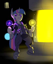 Size: 915x1091 | Tagged: safe, artist:metal-kitty, twilight sparkle, cyborg, pony, clothes, crossover, female, looking at you, mad scientist, moira, moira o'deorain, overwatch, solo, that was fast