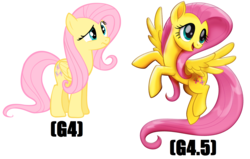 Size: 1716x1094 | Tagged: safe, artist:shelmo69, fluttershy, pegasus, pony, my little pony: the movie, comparison, female, flying, mare, movie accurate, raised hoof, simple background, spread wings, standing, white background, wings