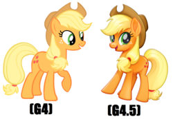 Size: 1680x1160 | Tagged: safe, artist:shelmo69, applejack, earth pony, pony, my little pony: the movie, comparison, female, looking at you, mare, movie accurate, raised hoof, raised leg, standing