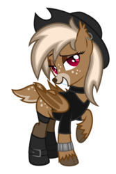 Size: 2800x4200 | Tagged: safe, artist:cherrymocaccino, artist:zuko42, oc, oc only, oc:cherry mocaccino, bat deer, bat pony, deer, deer pony, original species, pony, pony town, bedroom eyes, boots, bracelet, clothes, ear piercing, earring, eyeshadow, female, hat, high res, jewelry, looking at you, makeup, piercing, shirt, shoes, simple background, solo, stockings, thigh highs, transparent background, vector