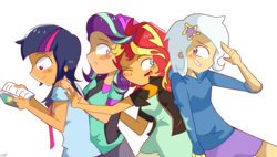 Size: 2481x1406 | Tagged: safe, artist:noahther, starlight glimmer, sunset shimmer, trixie, twilight sparkle, equestria girls, beanie, book, clothes, female, hat, human coloration, jacket, magical quartet, reading, shirt, simple background, smiling, vest