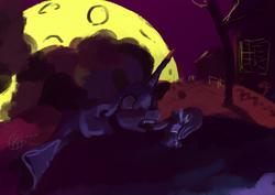 Size: 1754x1240 | Tagged: safe, artist:toisanemoif, nightmare moon, alicorn, pony, backlighting, candy, female, food, full moon, moon, night, nightmare night, solo