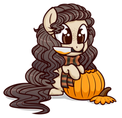 Size: 1024x995 | Tagged: safe, artist:whitehershey, oc, oc only, oc:lumina, pony, clothes, female, halloween, holiday, knife, mare, mouth hold, pumpkin, pumpkin carving, scarf, simple background, solo, transparent background