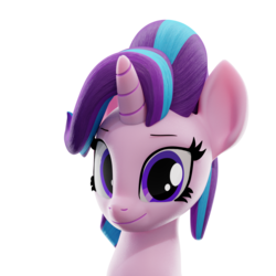 Size: 1500x1500 | Tagged: safe, artist:galawaille, starlight glimmer, pony, unicorn, 3d, blender, bust, cute, female, glimmerbetes, looking at you, mare, portrait, simple background, smiling, solo, transparent background