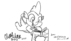 Size: 2453x1447 | Tagged: 30 minute art challenge, artist:chiptunebrony, black and white, book, boulder, cursive writing, cute, dragon, grayscale, handwritten text, ink, looking down, lying, monochrome, open mouth, reading, rock, safe, scorpan, signature, smiling, spikabetes, spike, title