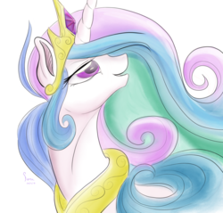 Size: 1024x980 | Tagged: safe, artist:firimil, princess celestia, alicorn, pony, beautiful, best princess, bust, crown, ethereal mane, female, flowing mane, jewelry, lidded eyes, looking up, mare, multicolored mane, open mouth, peytral, praise the sun, purple eyes, regalia, simple background, solo, tiara