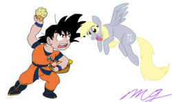 Size: 2776x1644 | Tagged: safe, artist:mjangelvortex, derpibooru exclusive, derpy hooves, ditzy doo, pegasus, pony, :p, crossover, digital art, dragon ball, dragon ball z, dragonball z abridged, food, goku, hungry, mlem, muffin, old art, old art is old, simple background, son goku, team four star, tongue out, transparent background