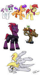 Size: 1200x2240 | Tagged: apple bloom, applebuck, armor, artist:tsitra360, broken horn, button mash, colt, cutie mark crusaders, cyclone shade, derpy hooves, dopey hooves, female, joystick (r63), male, my little pony: the movie, rule 63, safe, scootaloo, scooteroll, silver bell, simple background, smiling, stallion, sweetie belle, tempest shadow, unicorn, white background