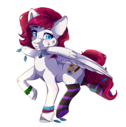 Size: 2150x2175 | Tagged: accessories, artist:serenity, clothes, feather, female, looking at you, mare, oc, oc:keyla, oc only, pegasus, pony, safe, simple background, socks, solo, striped socks, transparent background, unshorn fetlocks, wingding eyes