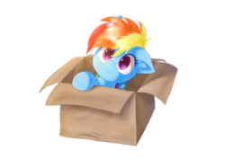 Size: 1707x1280 | Tagged: artist:kaliner123, box, cute, dashabetes, fanfic:my little dashie, female, filly, filly rainbow dash, floppy ears, pegasus, pony, pony in a box, rainbow dash, safe, simple background, solo, transparent background, younger