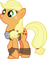 Size: 4375x5566 | Tagged: absurd res, applejack, artist:ironm17, clothes, earth pony, female, mare, pony, rockhoof, safe, simple background, smiling, solo, transparent background, vector