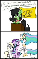 Size: 1400x2164 | Tagged: alicorn, angry, bandana, bipedal, bipedal leaning, celestia is not amused, chest fluff, cute, ear fluff, female, filly, flag, frown, gadsden flag, glare, hoof shoes, jewelry, leaning, libertarian, lidded eyes, mare, neckerchief, no step, no step on snek, oc, oc:aryanne, oc:filly anon, peytral, podium, pony, princess celestia, regalia, safe, simple background, sitting, smiling, smirk, snake, snek, speech, speech bubble, starlight glimmer, talking, tiara, time stamp, unamused, white background
