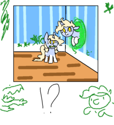 Size: 650x710 | Tagged: safe, artist:nootaz, oc, oc only, oc:nootaz, exclamation point, foal, interrobang, now you're thinking with portals, portal, portals, question mark