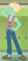 Size: 694x1511 | Tagged: safe, screencap, zephyr breeze, equestria girls, equestria girls series, overpowered (equestria girls), bracelet, clothes, eyes closed, hand on hip, hippie, jewelry, male, moccasins, no socks, pants, shoes, solo, zephyr's necklace