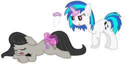 Size: 6900x3525 | Tagged: safe, artist:djdavid98, dj pon-3, octavia melody, vinyl scratch, earth pony, pony, unicorn, absurd resolution, bow, bowtie, cutie mark, eyes closed, female, floppy ears, glowing horn, hooves, horn, levitation, lying down, magic, mare, open mouth, prank, prone, raised hoof, simple background, sleeping, tail bow, telekinesis, tongue out, transparent background, vector