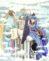 Size: 900x1116 | Tagged: artist:inuhoshi-to-darkpen, clothes, cloud, column, crown, dress, elf ears, goddess, greek mythology, human, humanized, jar, jewelry, pillar, princess celestia, princess luna, rainbow, regalia, royal sisters, safe, sandals, sitting, socks, tailed humanization, tiara, urn, wing claws, winged humanization, wings