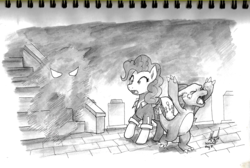 Size: 2214x1488 | Tagged: safe, artist:digiral, pinkie pie, charmeleon, earth pony, ghost, pony, series:pinkie pie's adventure, clothes, crossover, crying, female, grayscale, inktober, inktober 2017, lavender town, mare, monochrome, open mouth, pokémon, traditional art
