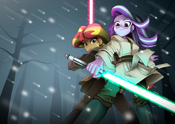 Size: 4961x3508 | Tagged: safe, artist:shadeirving, starlight glimmer, sunset shimmer, equestria girls, clothes, crossover, dark jedi, dead tree, disney, duo, female, high res, lightsaber, pants, snow, snowfall, star wars, tree, updated, weapon