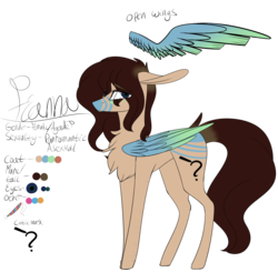 Size: 3160x3093 | Tagged: safe, artist:sweetmelon556, oc, oc only, oc:fianna, pegasus, pony, colored wings, female, high res, mare, multicolored wings, reference sheet, solo