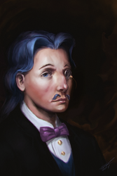 Size: 800x1200 | Tagged: safe, artist:assasinmonkey, fancypants, human, bowtie, bust, clothes, dapper, detailed, digital painting, facial hair, humanized, looking at you, male, monocle, moustache, portrait, realistic, refined taste, solo, three quarter view