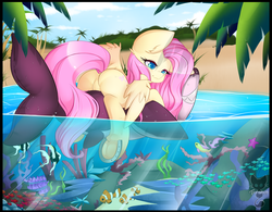 Size: 4000x3127 | Tagged: safe, artist:teranen, fluttershy, angelfish, fish, pegasus, pony, shark, beach, clownfish, colored pupils, coral, cute, featureless crotch, female, flutterbutt, frog (hoof), horseshoes, inflatable, inflatable toy, mare, ocean, palm tree, plot, pool toy, raised tail, riding, shyabetes, solo, tail, tree, underhoof, underwater, water, watershy