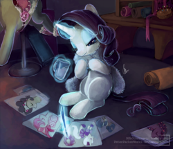 Size: 1686x1452 | Tagged: safe, artist:r0b0tassassin, rarity, pony, unicorn, drawing, drink, fabric, fashion, feather boa, female, fur scarf, magic, mannequin, mare, quill, solo, telekinesis, working