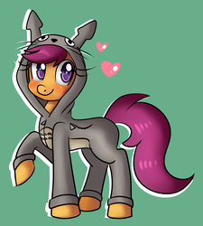 Size: 2307x2559 | Tagged: artist:lamentedmusings, clothes, costume, cute, cutealoo, female, filly, heart, hoodie, kigurumi, looking at you, pegasus, pony, safe, scootaloo, simple background, solo, studio ghibli, totoro