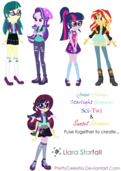 Size: 870x1227 | Tagged: safe, artist:prettycelestia, juniper montage, sci-twi, starlight glimmer, sunset shimmer, twilight sparkle, equestria girls, fusion, gem fusion, multiple arms, six arms, steven universe