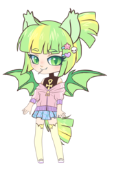 Size: 1083x1633 | Tagged: safe, artist:hawthornss, oc, oc only, oc:sourpatch, bat pony, anthro, candy, clothes, cute, cute little fangs, ear fluff, fangs, food, hairpin, hoodie, lollipop, looking at you, mary janes, ocbetes, pigtails, pleated skirt, shoes, skirt, socks, thigh highs