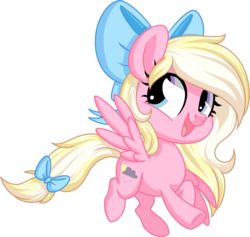 Size: 1024x971 | Tagged: safe, artist:kellythedrawinguni, oc, oc only, oc:bay breeze, pegasus, pony, bow, chibi, cute, female, flying, hair bow, happy, mare, open mouth, simple background, tail bow, transparent background