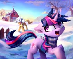 Size: 1191x966   Tagged: safe, artist:inowiseei, applejack, twilight sparkle, earth pony, pony, unicorn, barn, clothes, cloud, cute, duo, female, floppy ears, jackabetes, magic, mare, scarf, sky, smiling, snow, snowball fight, sweet apple acres, tree, twiabetes, unicorn twilight