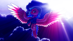 Size: 3000x1688   Tagged: safe, artist:autello, oc, oc only, pegasus, pony, beanie, clothes, cloud, female, flying, hat, hoodie, majestic, mare, moon, night, solo, subsurface scattering, wings, ych result