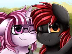 Size: 2379x1783 | Tagged: safe, artist:pridark, oc, oc only, pony, unicorn, bust, commission, cute, duo, glasses, one eye closed, portrait, selfie, wink