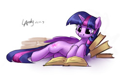 Size: 1545x970   Tagged: safe, artist:luciferamon, twilight sparkle, alicorn, pony, book, cute, female, lying down, mare, on side, reading, signature, simple background, smiling, solo, that pony sure does love books, twiabetes, twilight sparkle (alicorn), white background