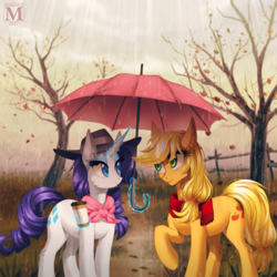 Size: 1200x1200 | Tagged: safe, artist:margony, applejack, rarity, earth pony, pony, unicorn, autumn, coffee, eye contact, female, glowing horn, grass, lesbian, looking at each other, magic, mare, rain, rarijack, scenery, shipping, smiling, telekinesis, tree, umbrella