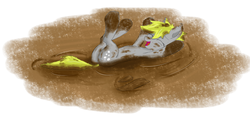 Size: 4049x1867 | Tagged: artist:pzkratzer, derpy hooves, dirt, dirty, messy, mud, mud bath, muddy, on back, playing, plot, safe, swamp, wet and messy