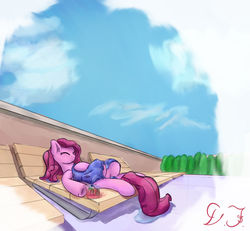 Size: 2088x1930 | Tagged: alcohol, artist:velvet frame, calm, cloud, drink, ear fluff, female, happy, hooves, laying down, lounge chair, peaceful, pinkie pie, pony, relaxing, safe, sky, smiling, towel, water, wet mane